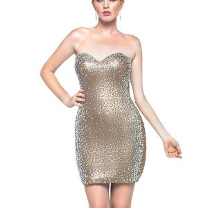 Milano Gold Sequin Strapless Prom Pageant Dress